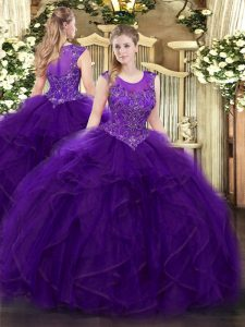 Purple Organza Zipper Quinceanera Dress Sleeveless Floor Length Beading and Ruffles