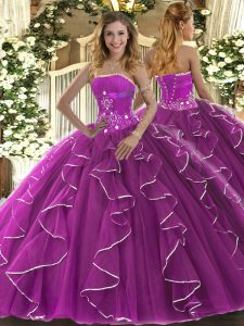 Sexy Fuchsia Sleeveless Floor Length Beading and Ruffles Lace Up 15 Quinceanera Dress