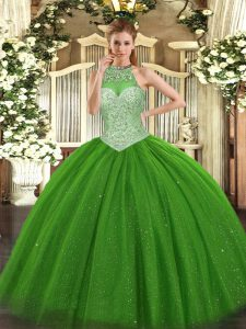 Luxurious Sleeveless Floor Length Beading Lace Up Quinceanera Gown with Green