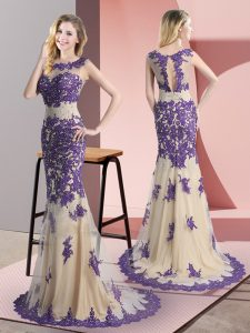Side Zipper Prom Gown Champagne for Prom and Party with Beading and Appliques Sweep Train