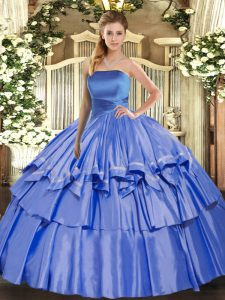 Adorable Blue Lace Up Strapless Ruffled Layers Vestidos de Quinceanera Organza Sleeveless