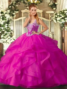 High Quality Straps Sleeveless Lace Up 15th Birthday Dress Fuchsia Tulle