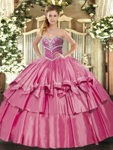 Hot Pink Ball Gowns Sweetheart Sleeveless Organza and Taffeta Floor Length Lace Up Beading and Ruffled Layers 15 Quinceanera Dress