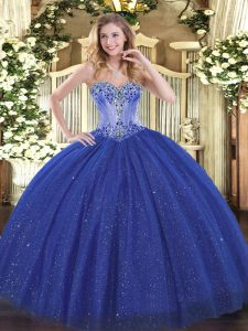 Classical Royal Blue Sequined Lace Up Sweetheart Sleeveless Sweet 16 Dress Beading