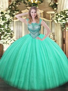 Pretty Turquoise Ball Gowns Beading Sweet 16 Dresses Lace Up Tulle and Sequined Sleeveless Floor Length