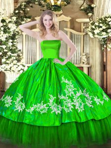 Floor Length Zipper Ball Gown Prom Dress for Military Ball and Sweet 16 and Quinceanera with Embroidery