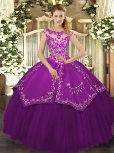 Traditional Eggplant Purple Cap Sleeves Floor Length Embroidery Lace Up Quinceanera Gown