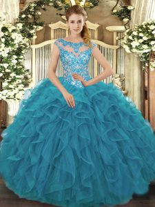 Nice Teal Organza Lace Up Sweet 16 Dress Cap Sleeves Floor Length Beading and Ruffles