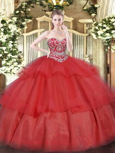 Pretty Sleeveless Organza Floor Length Lace Up Sweet 16 Quinceanera Dress in Red with Beading and Ruffled Layers