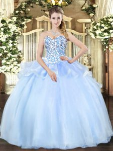 Free and Easy Light Blue Ball Gowns Sweetheart Sleeveless Organza Floor Length Lace Up Beading 15 Quinceanera Dress