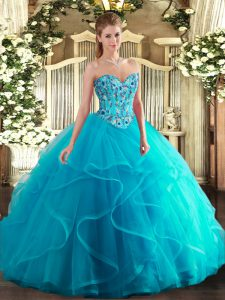 Free and Easy Aqua Blue Lace Up Sweetheart Embroidery and Ruffles Quince Ball Gowns Tulle and Printed Sleeveless