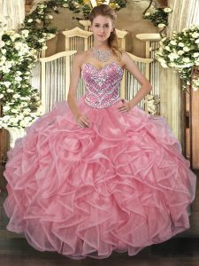 Free and Easy Pink Sweetheart Lace Up Beading Sweet 16 Dress Sleeveless