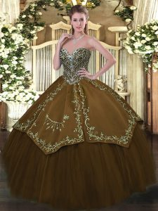 Floor Length Ball Gowns Sleeveless Brown 15 Quinceanera Dress Lace Up