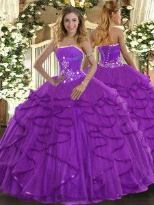 Fancy Strapless Sleeveless Tulle Vestidos de Quinceanera Beading and Ruffles Lace Up