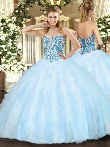Floor Length Light Blue Quinceanera Dresses Sweetheart Sleeveless Lace Up