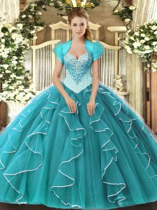 Teal 15 Quinceanera Dress Military Ball and Sweet 16 and Quinceanera with Beading Sweetheart Sleeveless Lace Up