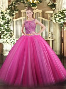 Ideal Sleeveless Floor Length Beading Lace Up Sweet 16 Dress with Hot Pink