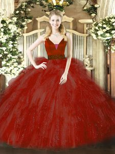 Exceptional Wine Red Sweet 16 Dresses Military Ball and Sweet 16 and Quinceanera with Beading and Ruffles Straps Sleeveless Zipper