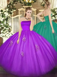 Strapless Sleeveless Zipper Sweet 16 Dresses Eggplant Purple Tulle