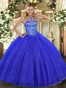 Royal Blue Ball Gowns Halter Top Sleeveless Tulle and Sequined Floor Length Lace Up Beading and Embroidery Ball Gown Prom Dress