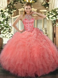 Beading and Embroidery Quinceanera Dress Watermelon Red Lace Up Sleeveless Floor Length