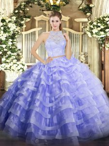 Lovely Lavender Sleeveless Lace and Ruffled Layers Floor Length Quinceanera Dresses