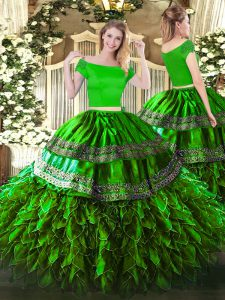 Green Zipper Quinceanera Dresses Embroidery and Ruffles Short Sleeves Floor Length