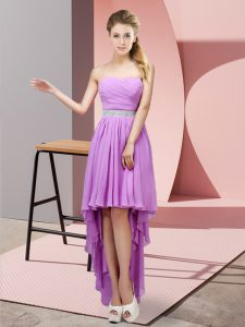 Perfect High Low Lace Up Prom Party Dress Lavender for Prom and Party with Beading