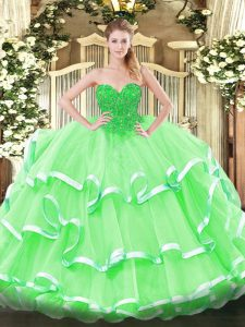 Apple Green Ball Gowns Lace Quince Ball Gowns Lace Up Organza Sleeveless Floor Length
