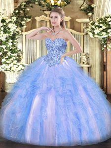 Blue And White Ball Gowns Appliques and Ruffles Sweet 16 Dress Lace Up Organza Sleeveless Floor Length