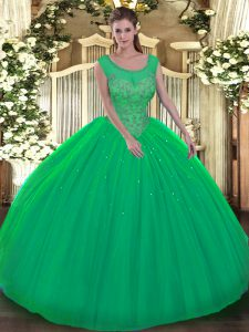 Sleeveless Backless Floor Length Beading Quince Ball Gowns