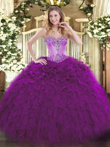 Luxury Floor Length Eggplant Purple Sweet 16 Dresses Sweetheart Sleeveless Lace Up