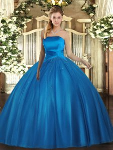 New Style Strapless Sleeveless Tulle Sweet 16 Dresses Ruching Lace Up