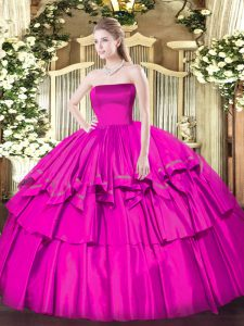 Best Fuchsia Zipper Quinceanera Dresses Ruffled Layers Sleeveless Floor Length