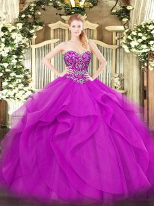 Excellent Tulle Sweetheart Sleeveless Lace Up Beading and Ruffles Quinceanera Dresses in Fuchsia