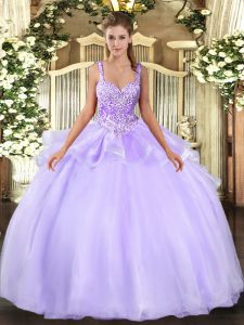 Straps Sleeveless 15 Quinceanera Dress Floor Length Beading Lavender Organza