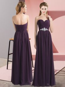 Dark Purple Empire Beading Prom Dress Lace Up Chiffon Sleeveless Floor Length