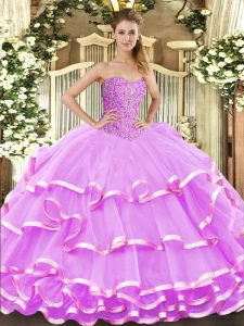 Custom Fit Floor Length Lace Up Quinceanera Gowns Lilac for Military Ball and Sweet 16 and Quinceanera with Beading and Ruffled Layers