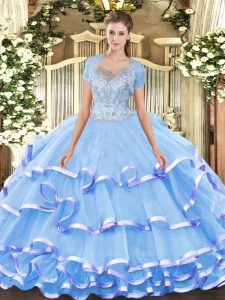 Ball Gowns Ball Gown Prom Dress Aqua Blue Scoop Tulle Sleeveless Floor Length Clasp Handle