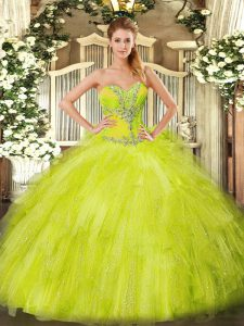 Beautiful Sleeveless Floor Length Beading and Ruffles Lace Up Quinceanera Gown with Yellow Green