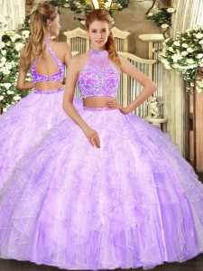 Lilac Criss Cross Ball Gown Prom Dress Beading and Ruffles Sleeveless Floor Length