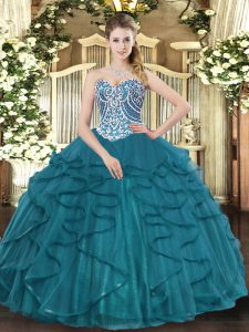 Floor Length Ball Gowns Sleeveless Teal Ball Gown Prom Dress Lace Up