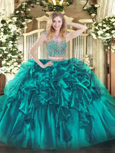 Cheap Teal Lace Up Ball Gown Prom Dress Beading and Ruffles Sleeveless Floor Length