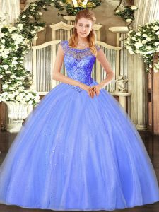 Beading Ball Gown Prom Dress Blue Lace Up Sleeveless Floor Length