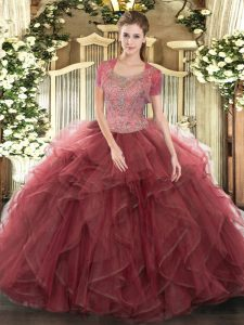 Fashionable Floor Length Clasp Handle Ball Gown Prom Dress Burgundy for Military Ball and Sweet 16 and Quinceanera with Beading and Ruffled Layers