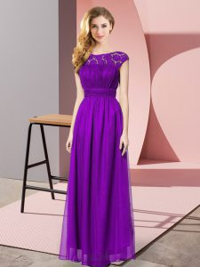 Designer Lace Eggplant Purple Zipper Sleeveless Floor Length