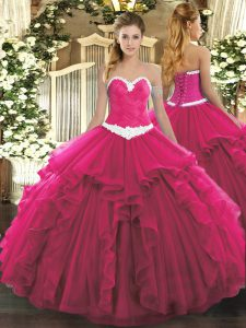 Fine Floor Length Ball Gowns Sleeveless Hot Pink Quinceanera Dresses Lace Up