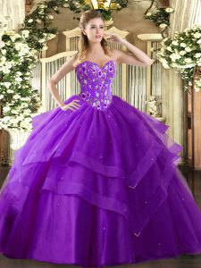 Floor Length Lace Up 15th Birthday Dress Eggplant Purple for Military Ball and Sweet 16 and Quinceanera with Embroidery and Ruffled Layers