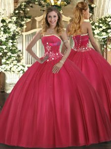Custom Designed Floor Length Ball Gowns Sleeveless Red Quinceanera Dresses Lace Up