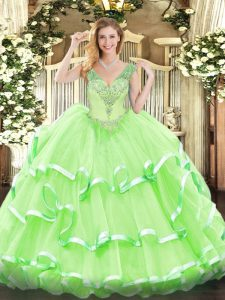 Lace Up Sweet 16 Dress Beading and Ruffled Layers Sleeveless Floor Length